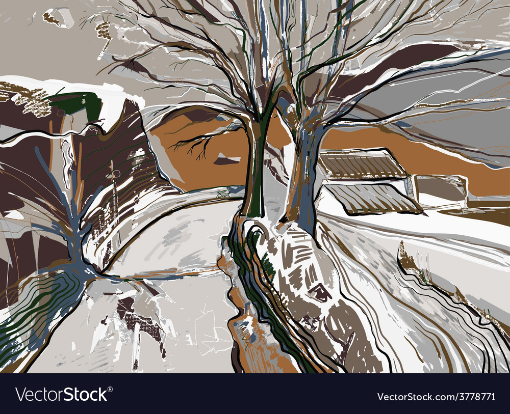 Digital painting of winter landscape vector | Price: 1 Credit (USD $1)