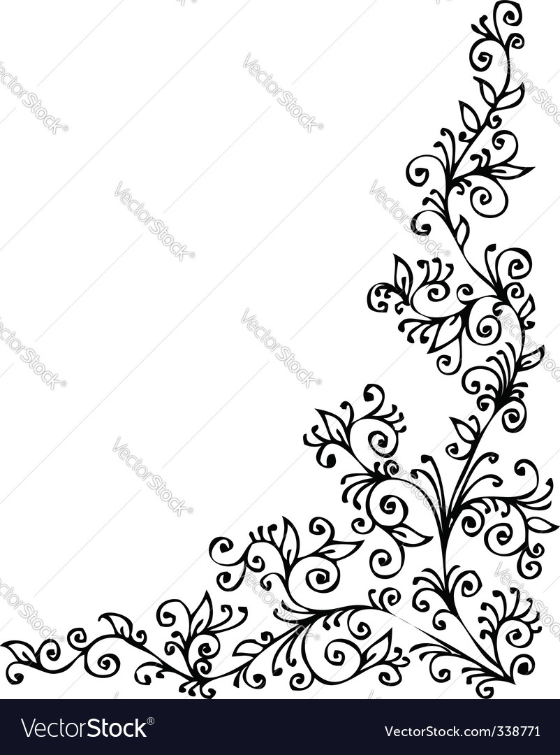 Floral vignette cdxxii vector | Price: 1 Credit (USD $1)