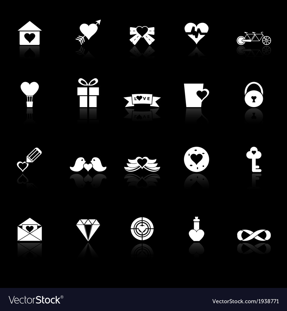 Love and heart icons with reflect on black vector | Price: 1 Credit (USD $1)