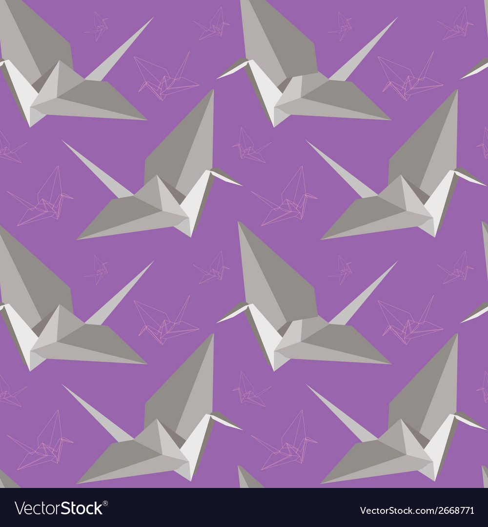 Origami paper cranes seamless pattern vector | Price: 1 Credit (USD $1)