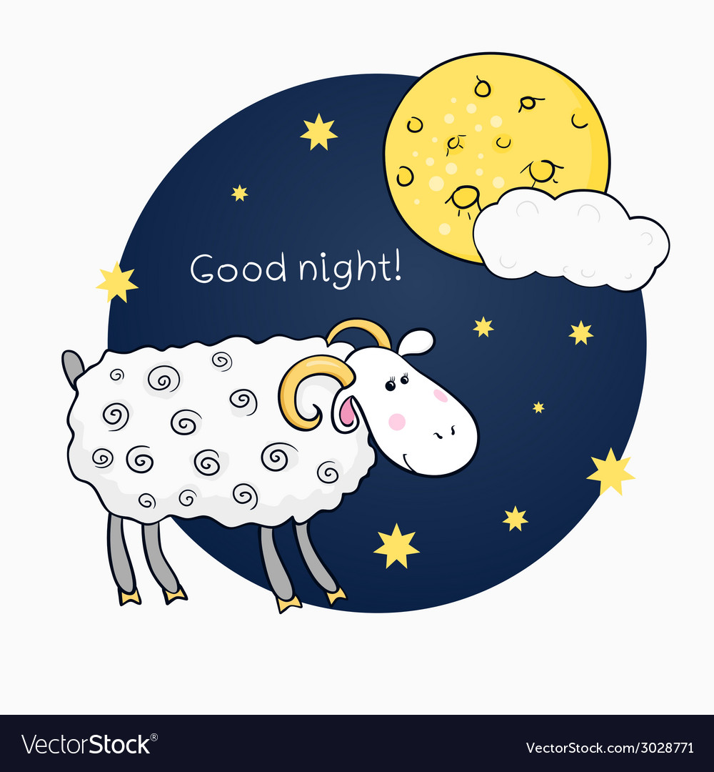 Print with images cute sheep on background night vector | Price: 1 Credit (USD $1)