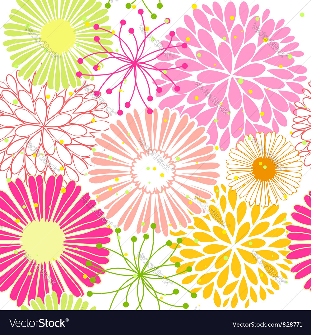 Springtime colorful flower seamless pattern vector | Price:  Credit (USD $)