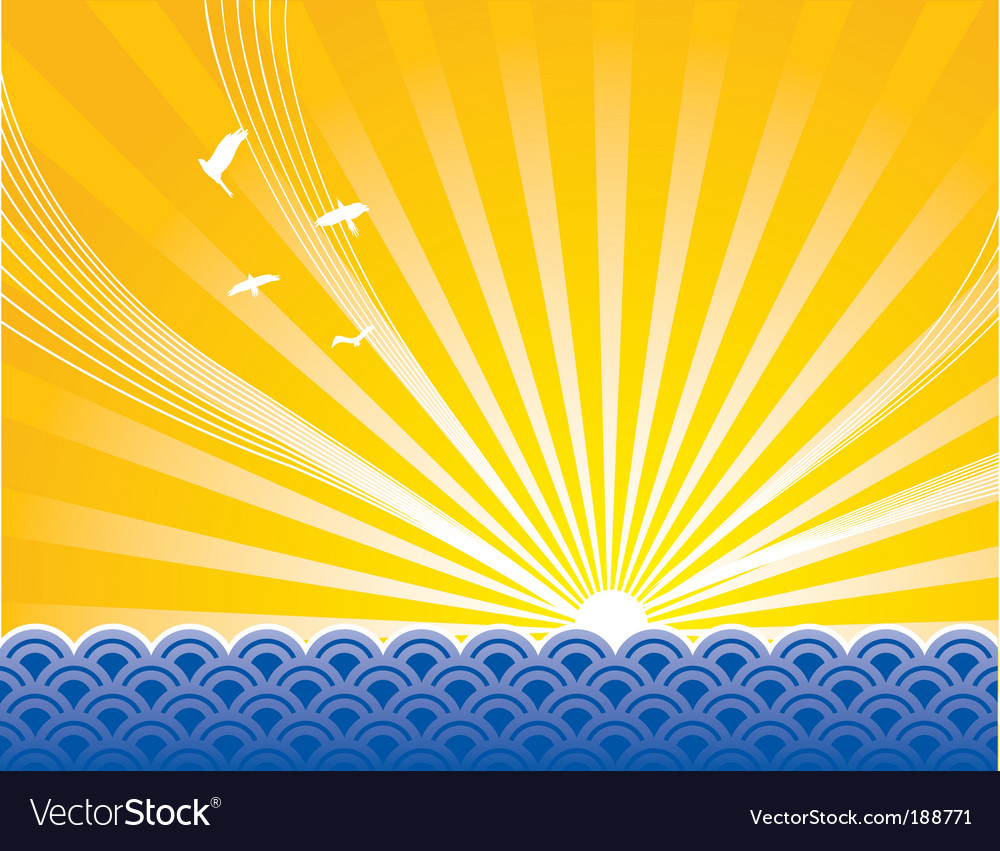 Sunrise sea vector