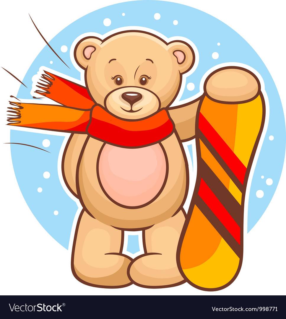 Teddy bear with snowboard vector | Price: 3 Credit (USD $3)