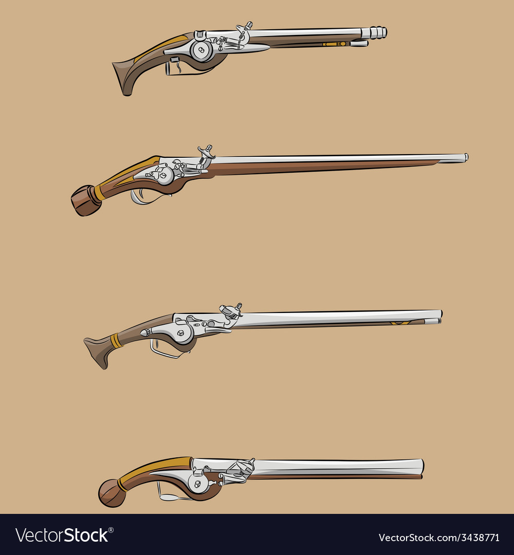 Vintage pistols a vector | Price: 1 Credit (USD $1)