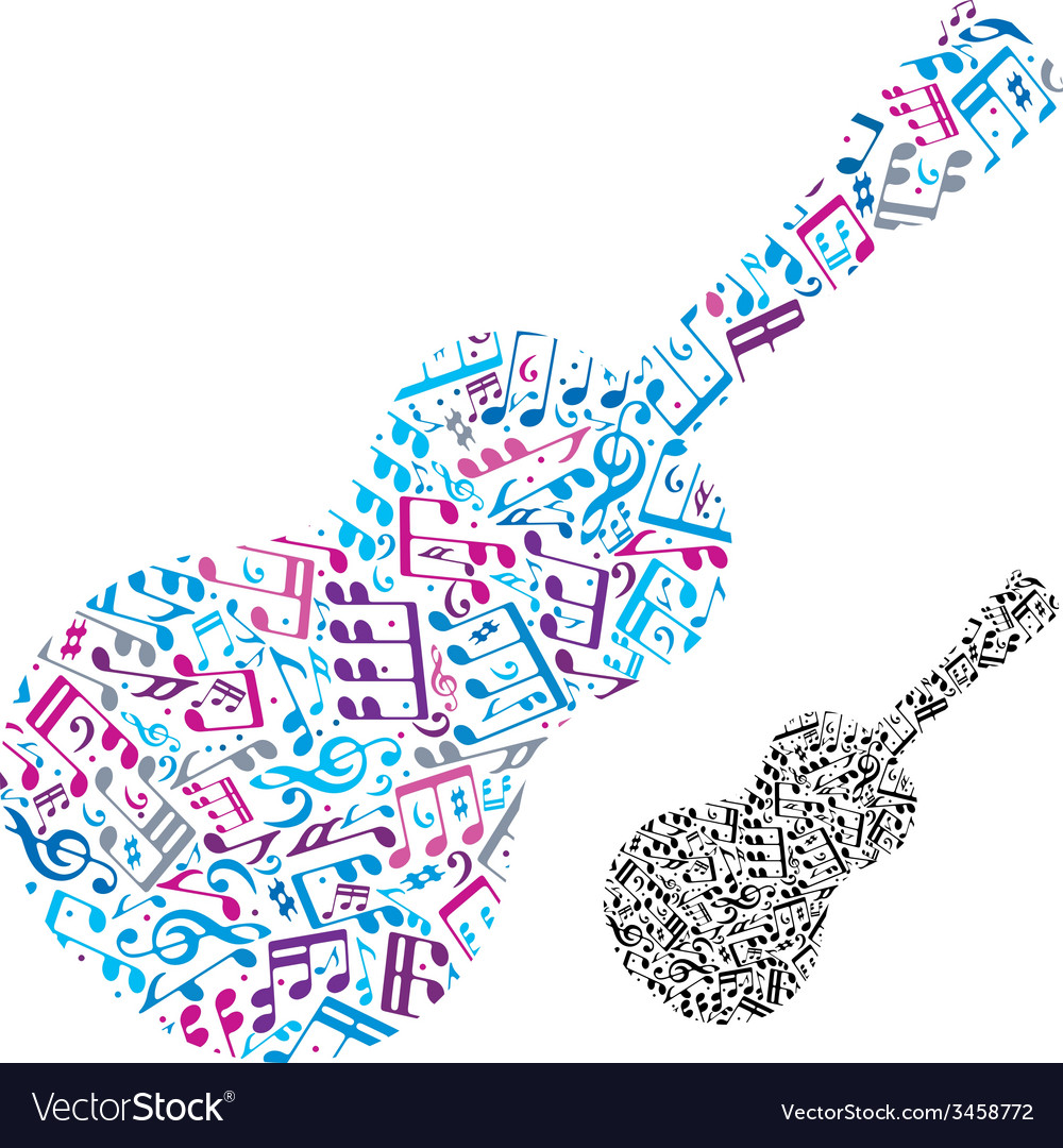 Bright acoustic guitar filled with musical notes vector | Price: 1 Credit (USD $1)