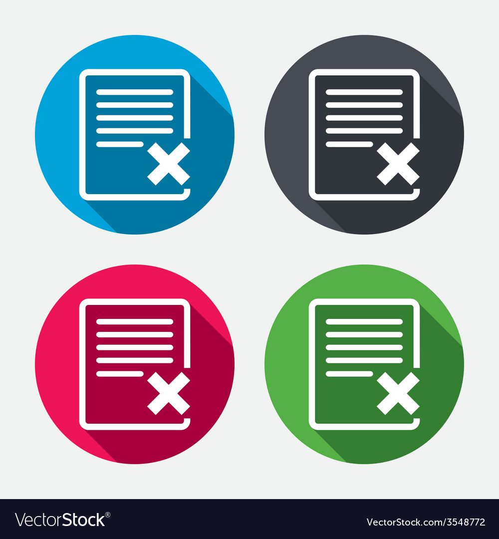 Delete file sign icon remove document symbol vector | Price: 1 Credit (USD $1)