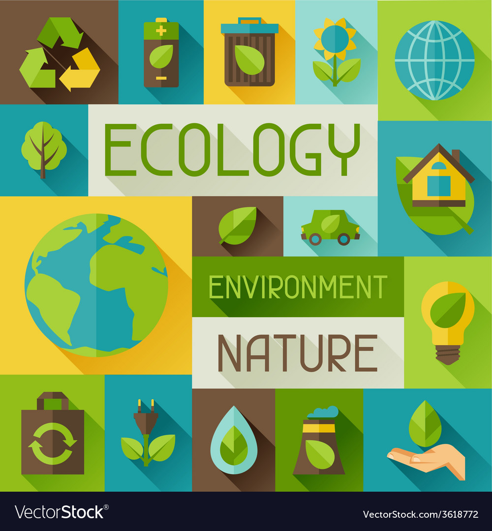 Ecology background with environment icons vector | Price: 1 Credit (USD $1)