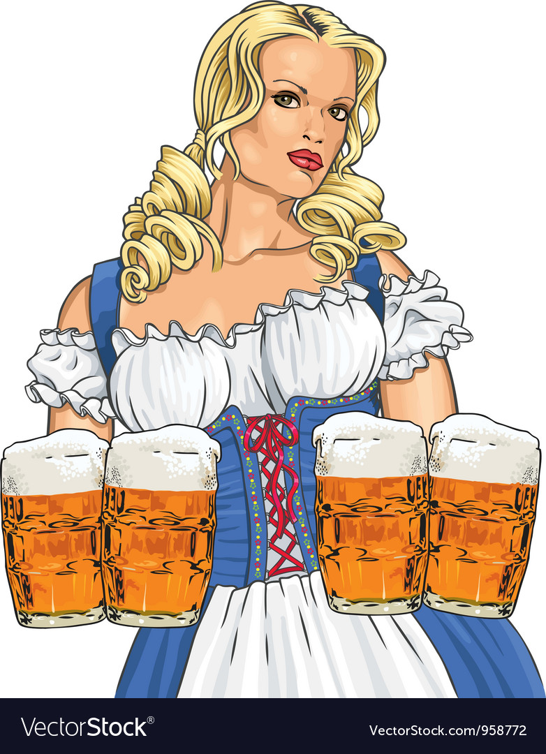 Girl with beer vector | Price: 5 Credit (USD $5)