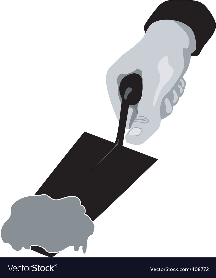 Hand with trowel and cement vector | Price: 1 Credit (USD $1)