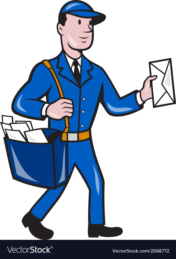 Mailman postman delivery worker isolated cartoon vector | Price: 1 Credit (USD $1)