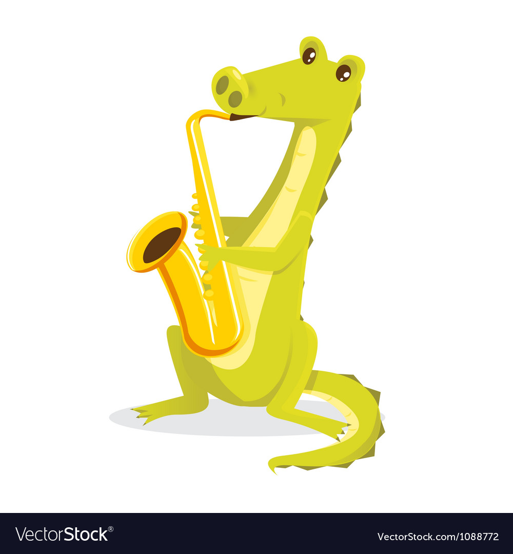 Musical animals crocodile saxaphone vector | Price: 1 Credit (USD $1)