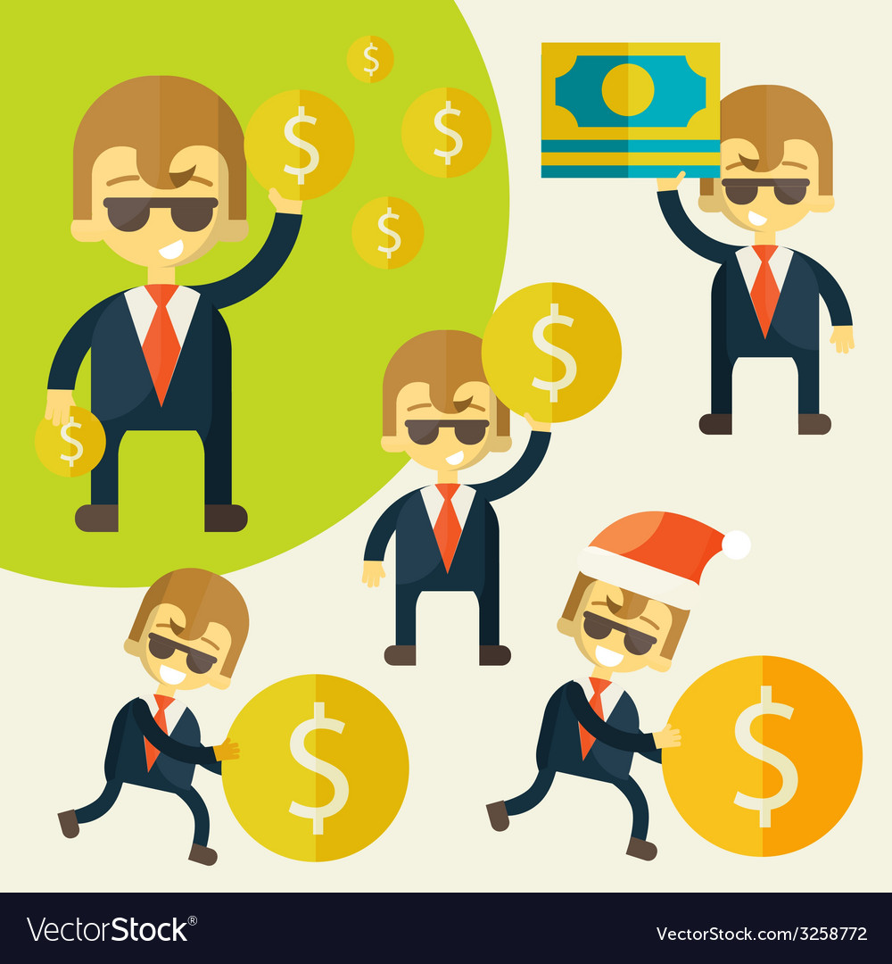 Set of cheerful businessman with his money vector | Price: 1 Credit (USD $1)