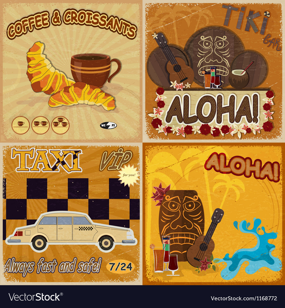 Set of vintage cards vector | Price: 3 Credit (USD $3)