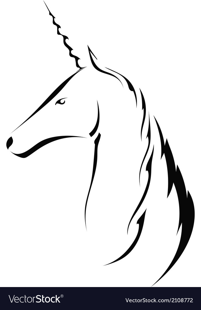 Silhouette head with a unicorn vector   Price: 1 Credit (USD $1)