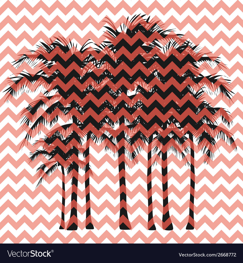 Silhouettes of palm trees on a pink background vector | Price: 1 Credit (USD $1)