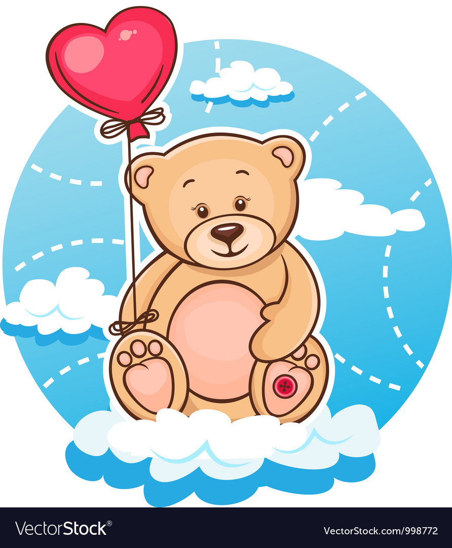 Valentine teddy with balloon vector | Price: 3 Credit (USD $3)