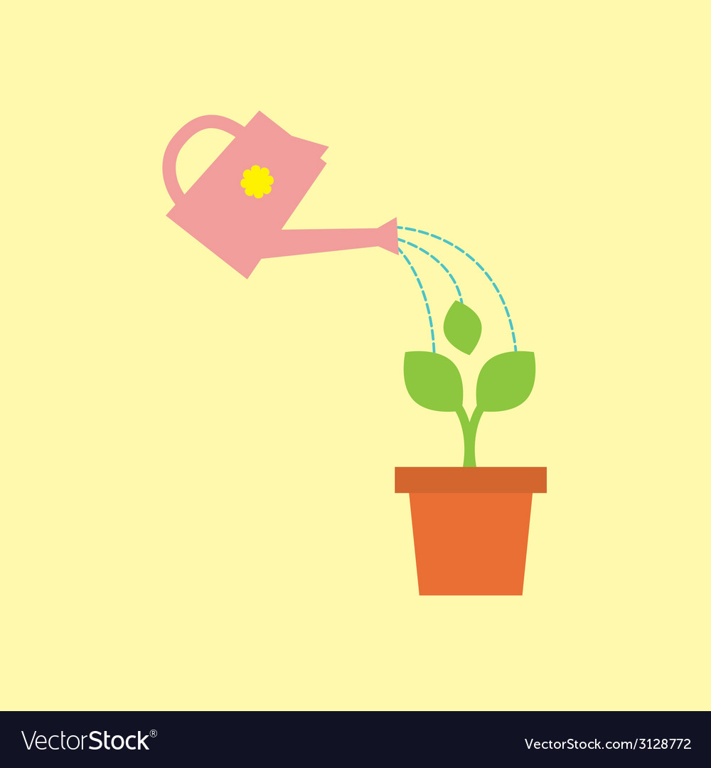 Watering pot with little tree vector | Price: 1 Credit (USD $1)