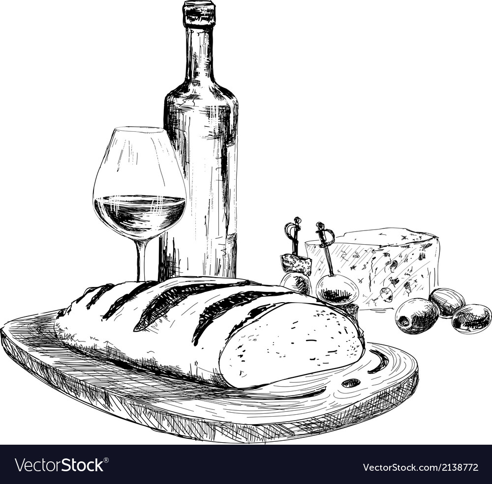 Wine bread and blue cheese vector | Price: 1 Credit (USD $1)