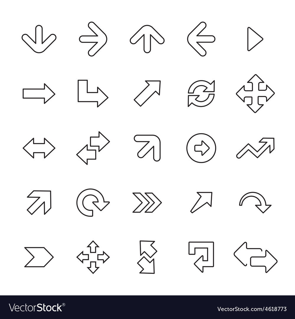 25 outline universal arrows icons vector | Price: 1 Credit (USD $1)