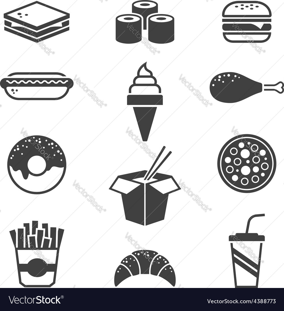 Black fast food icons vector | Price: 1 Credit (USD $1)