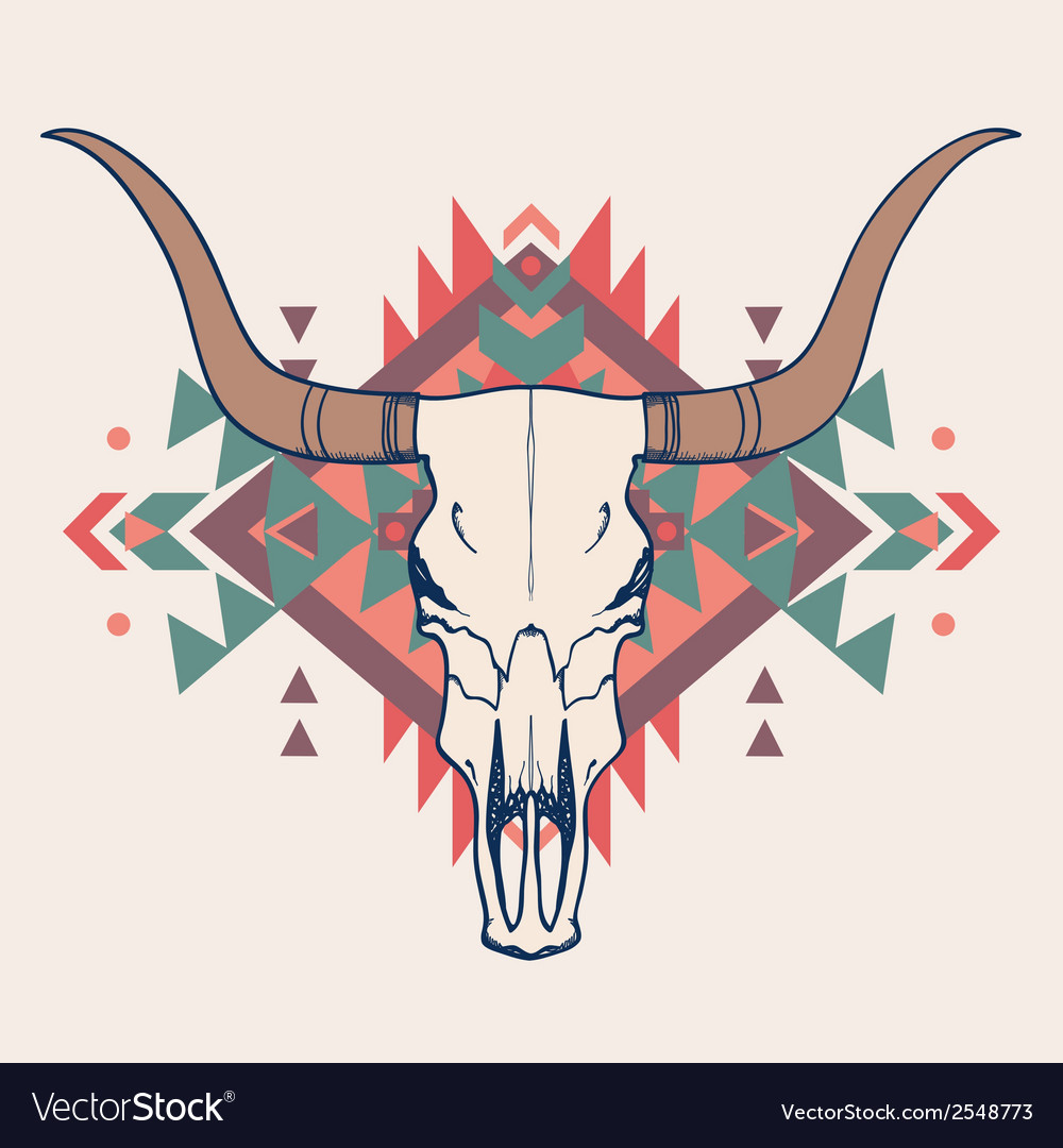 Bull skull with ethnic ornament vector | Price: 1 Credit (USD $1)