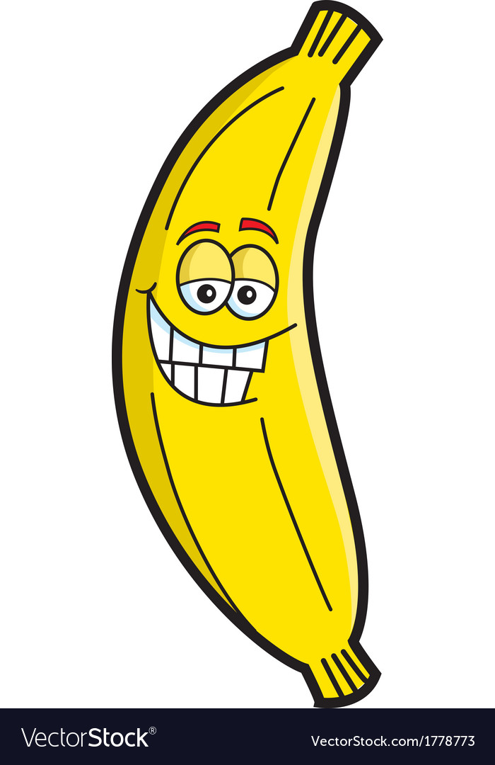 Cartoon smiling banana vector | Price: 1 Credit (USD $1)