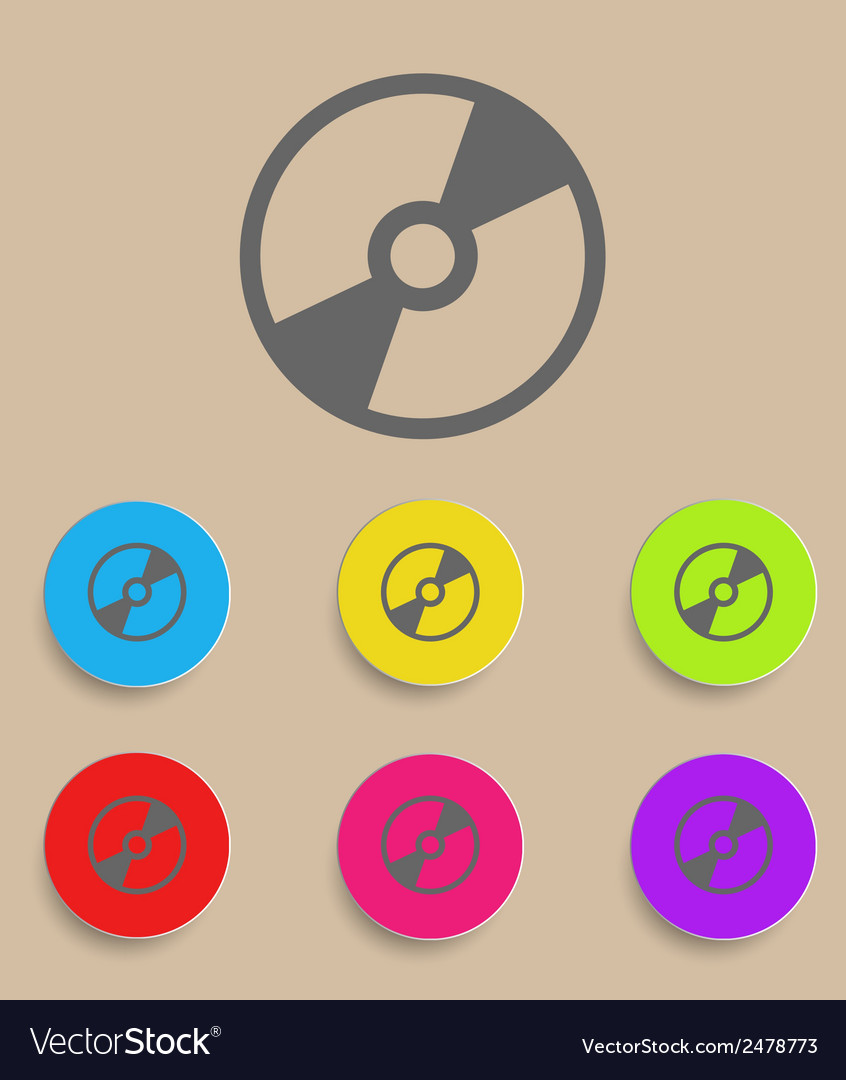 Cd or dvd icon with color variations vector | Price: 1 Credit (USD $1)