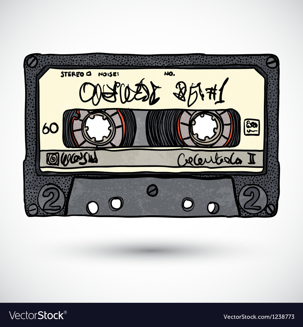 Doodle style cassette tape vector | Price: 1 Credit (USD $1)