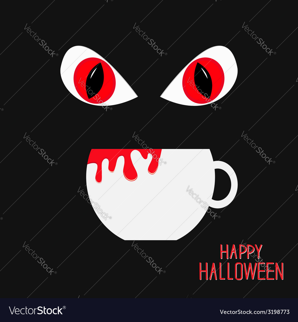 Evil red eyesand cup with blood halloween vector   Price: 1 Credit (USD $1)