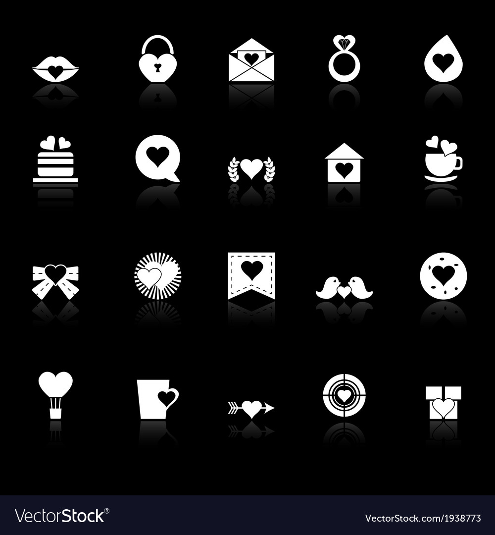Heart element icons with reflect on black vector | Price: 1 Credit (USD $1)
