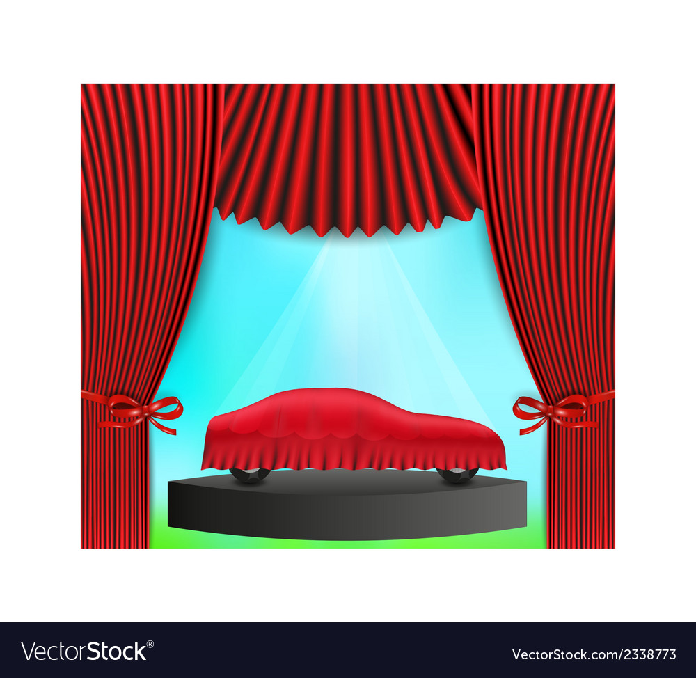 Hidden car and red curtain vector | Price: 1 Credit (USD $1)
