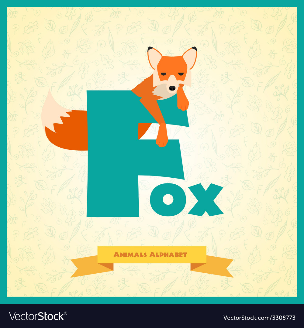 Letter f and fox vector | Price: 1 Credit (USD $1)