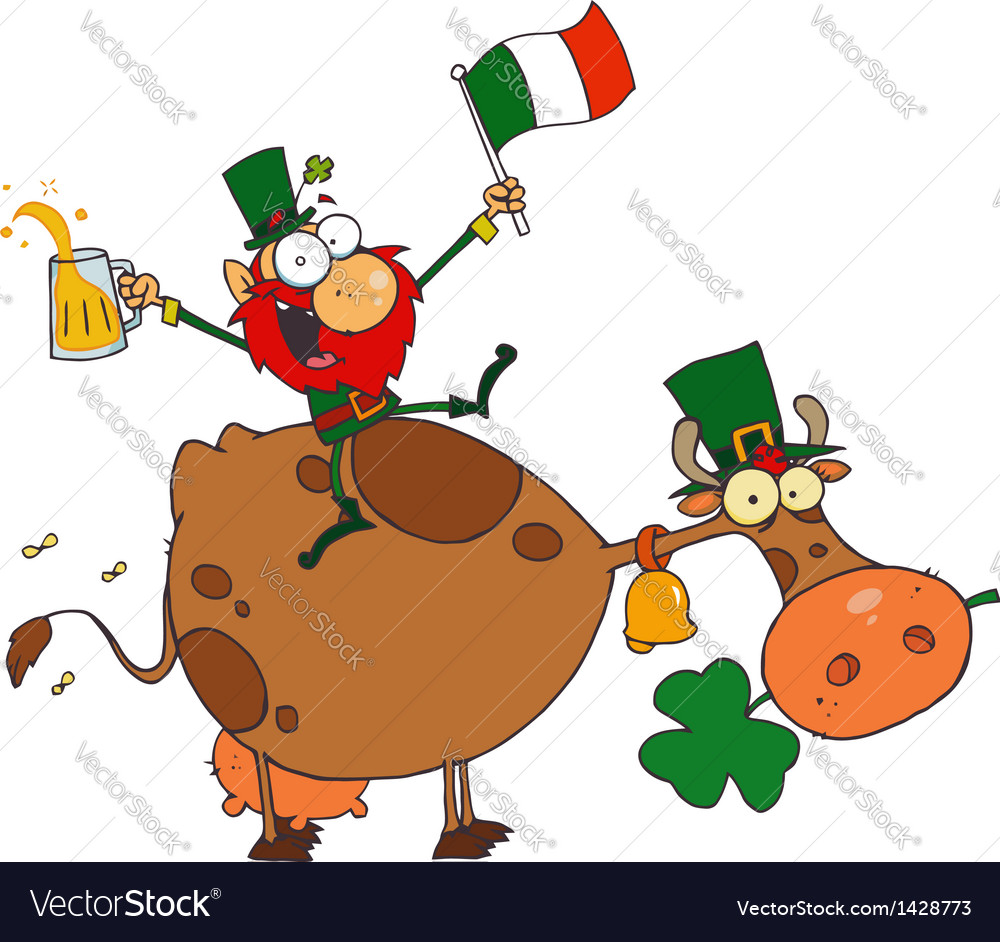 Lucky leprechaun sitting on a cow with beer vector | Price: 3 Credit (USD $3)