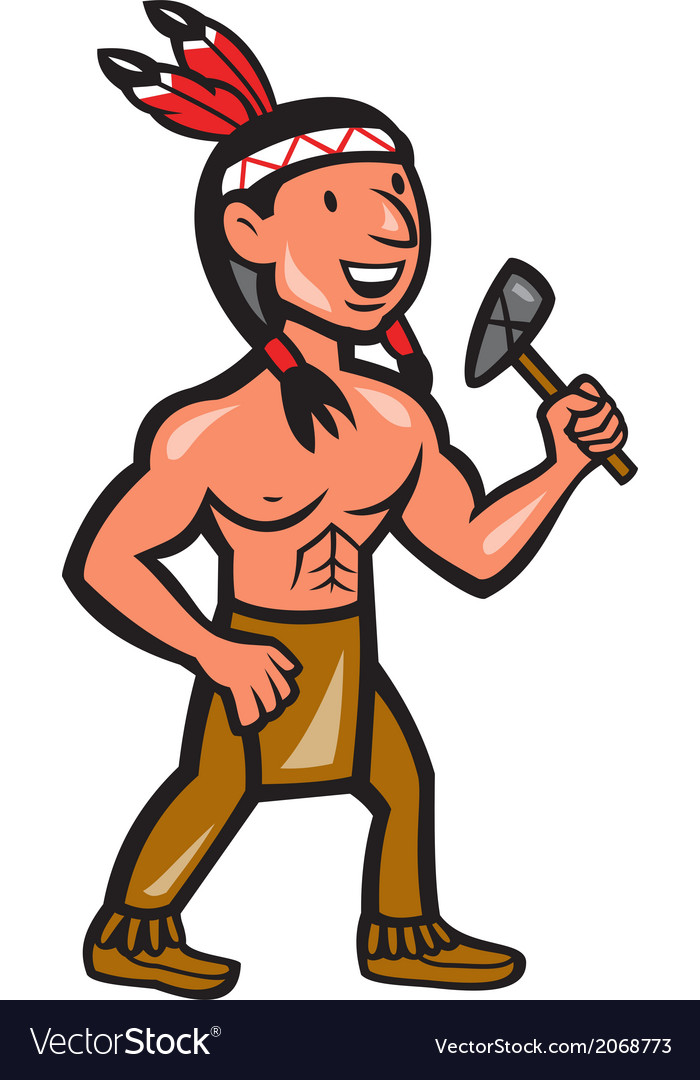 Native american holding tomahawk cartoon vector | Price: 1 Credit (USD $1)