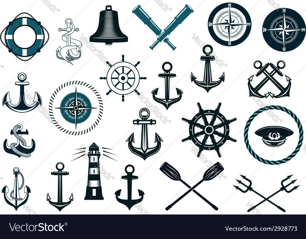 Set of nautical icons vector | Price: 1 Credit (USD $1)