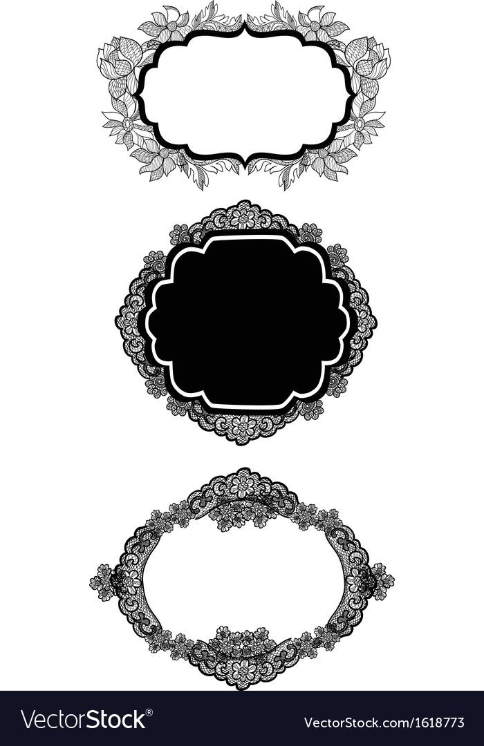 Set og three vintage lacy labels vector | Price: 1 Credit (USD $1)