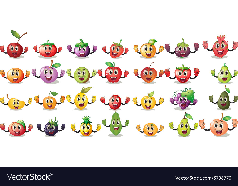 Sets of fruit faces vector