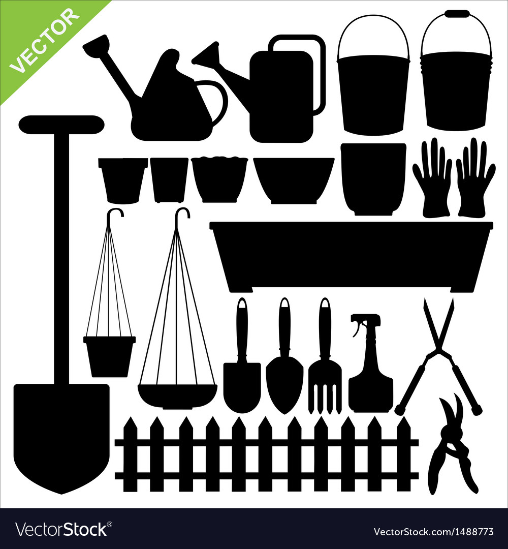 Tool garden silhouettes vector | Price: 1 Credit (USD $1)