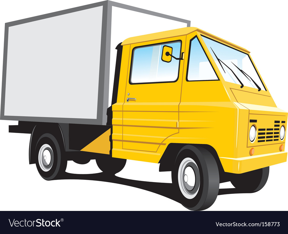 Yellow delivery truck vector | Price: 1 Credit (USD $1)