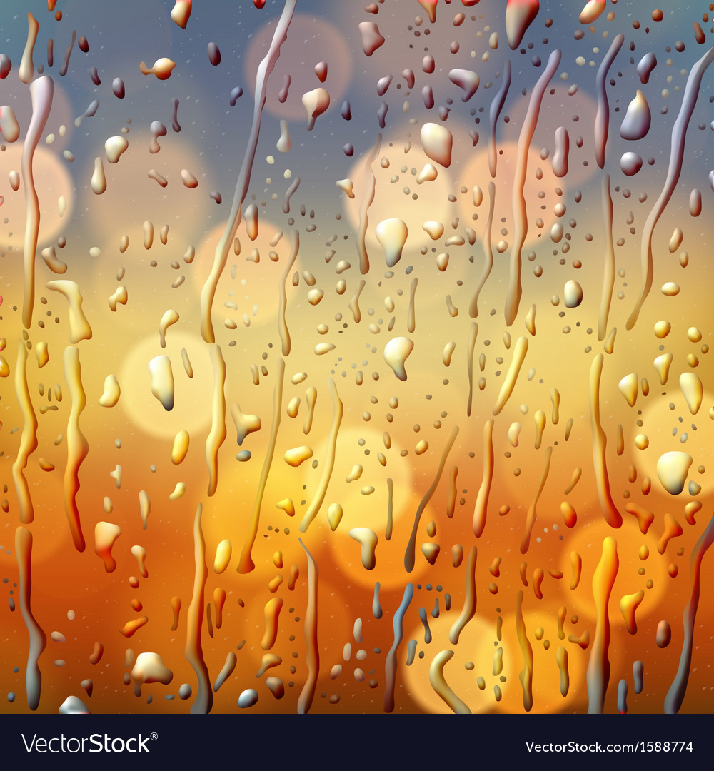 Autumn background view through wet glass vector | Price: 1 Credit (USD $1)