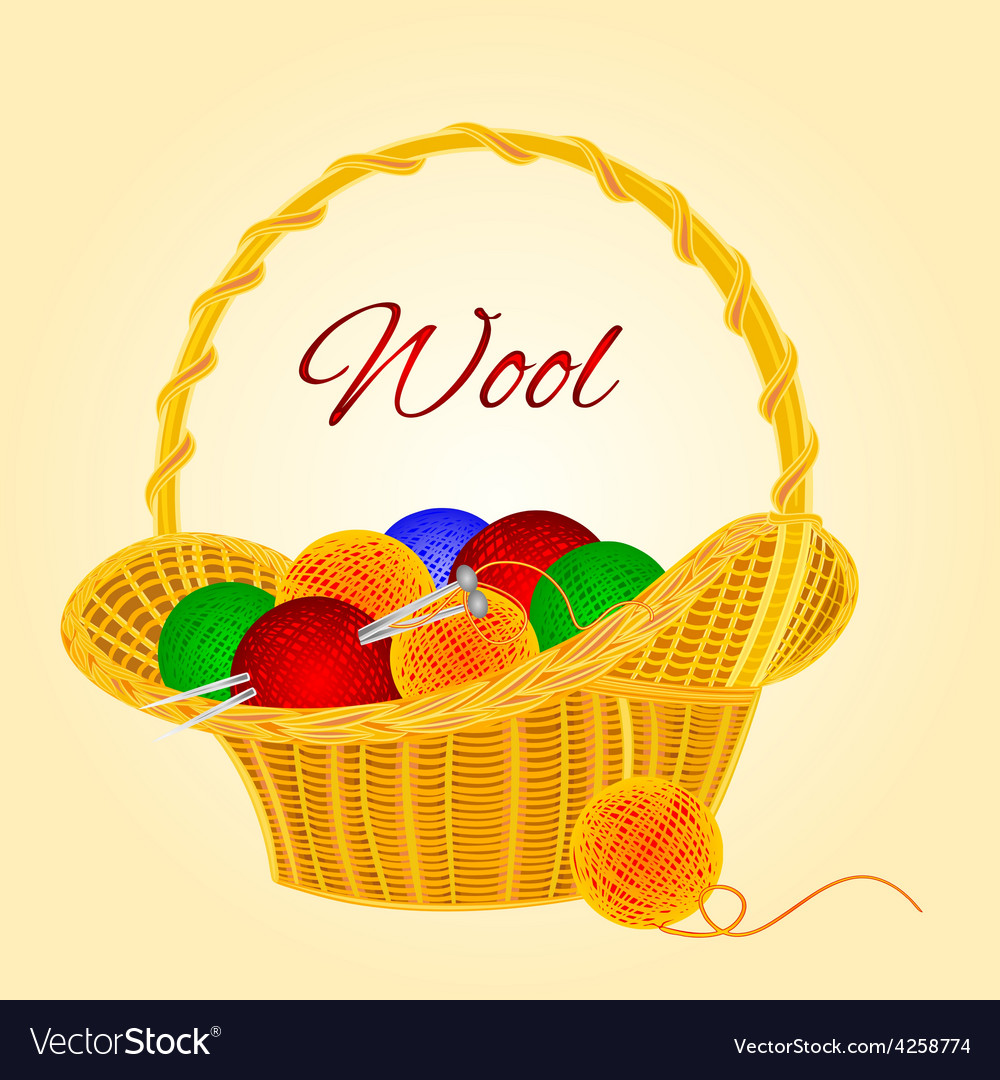 Ball of wool in basket homemade knitting vector | Price: 1 Credit (USD $1)