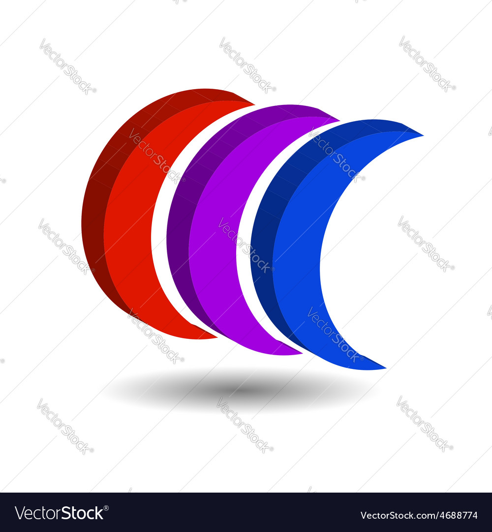 Crescent shaped 3d logo with shadow vector | Price: 1 Credit (USD $1)