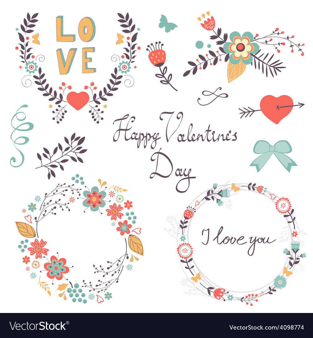 Elegant romantic collection vector | Price: 1 Credit (USD $1)