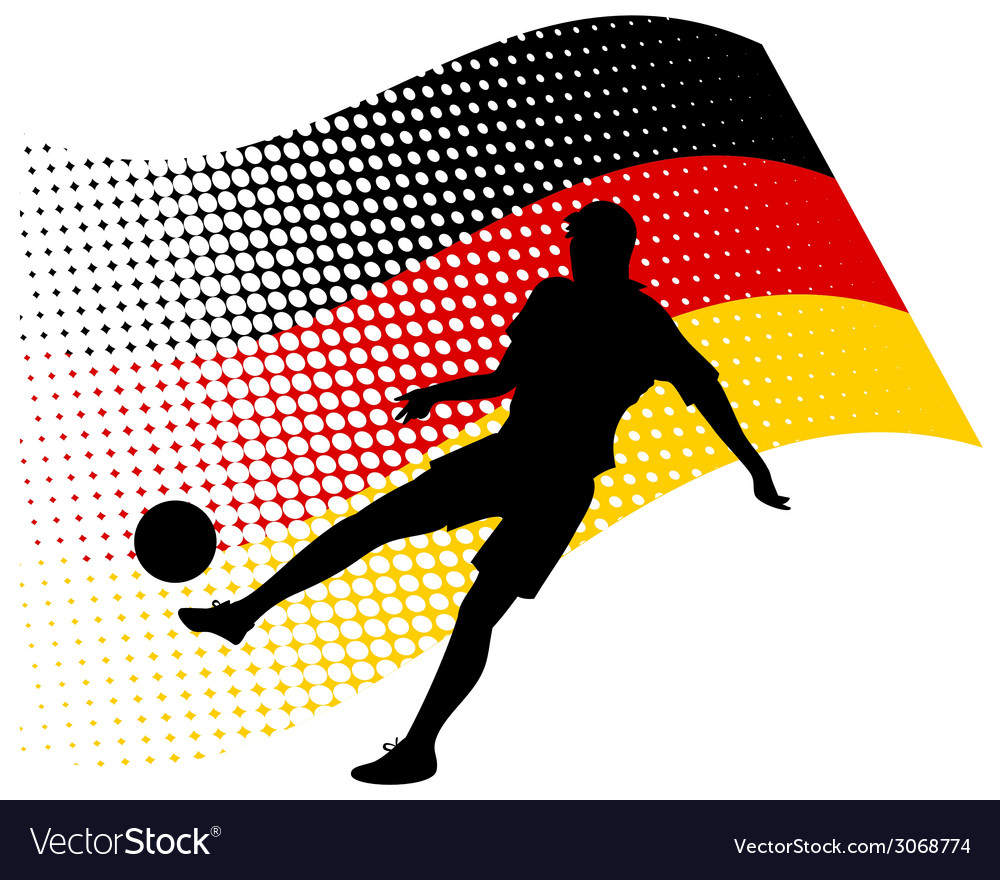 Germany soccer player against national flag vector | Price: 1 Credit (USD $1)