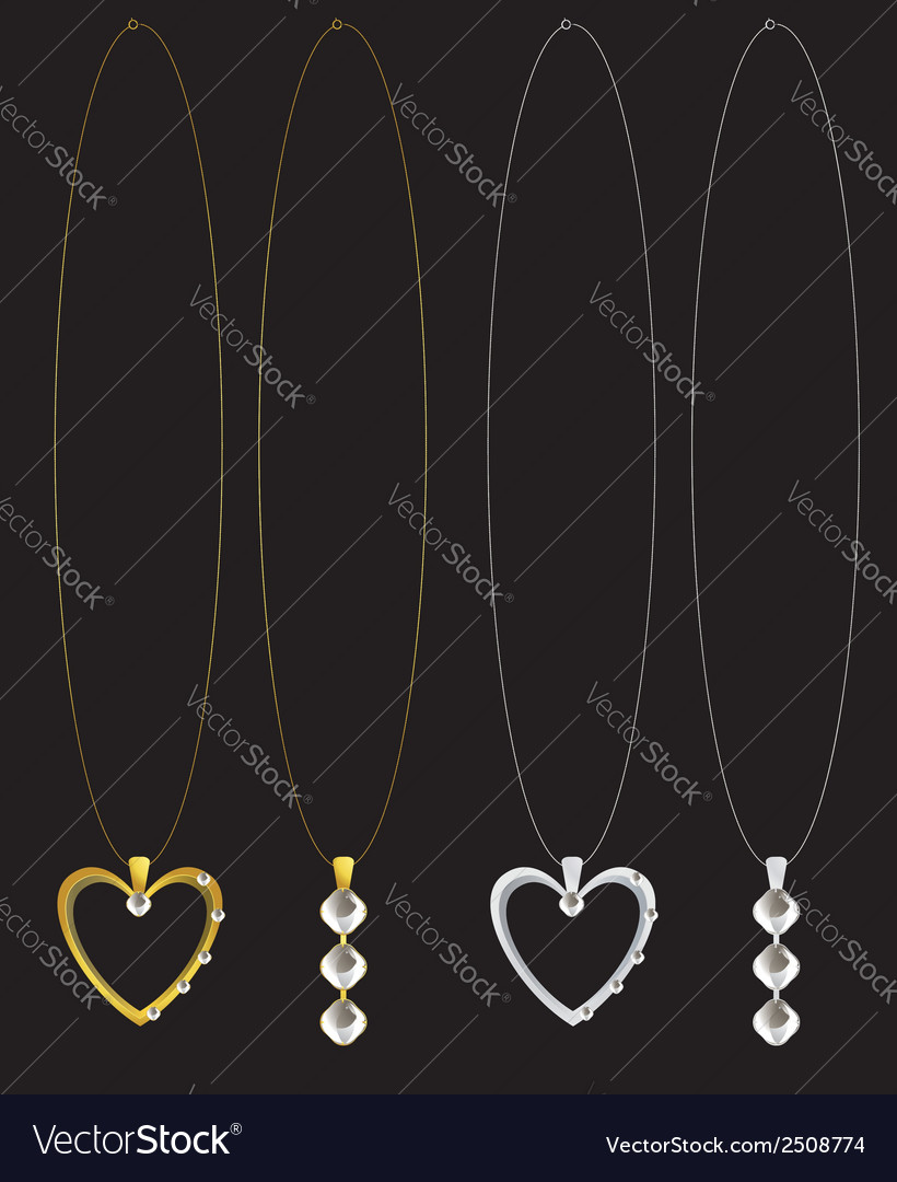 Gold and silver heart and diamond necklaces vector | Price: 1 Credit (USD $1)