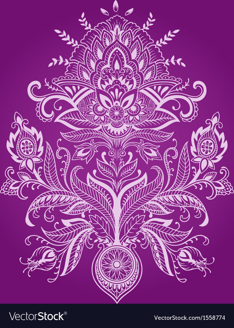 Henna paisley flower vector | Price: 1 Credit (USD $1)