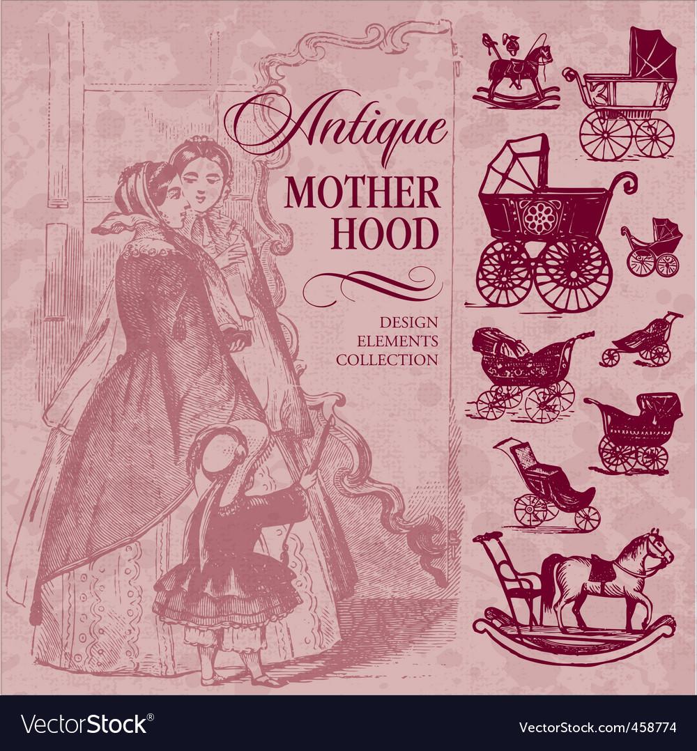 Motherhood antique set vector | Price: 1 Credit (USD $1)
