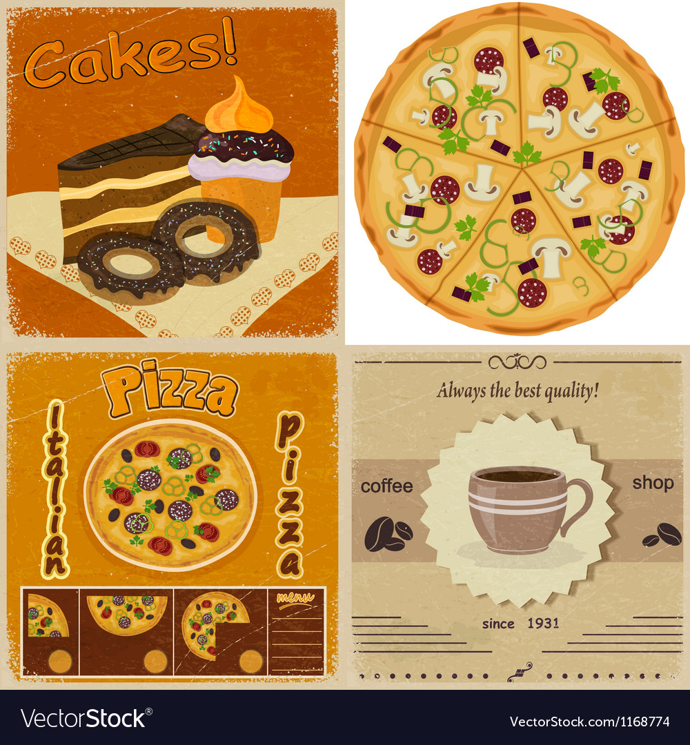 Set of vintage cards with the image of food vector | Price: 3 Credit (USD $3)