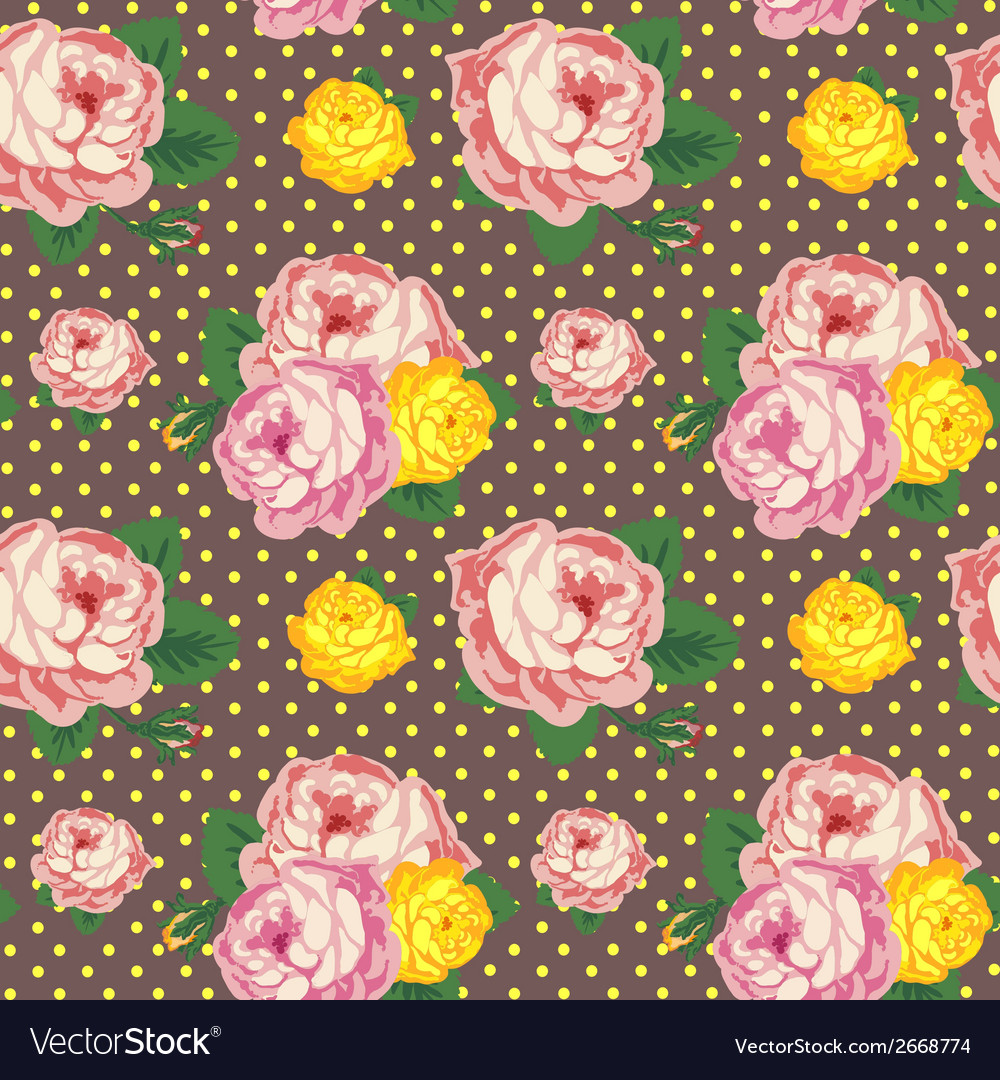 Shabby chic seamless pattern vintage roses vector | Price: 1 Credit (USD $1)